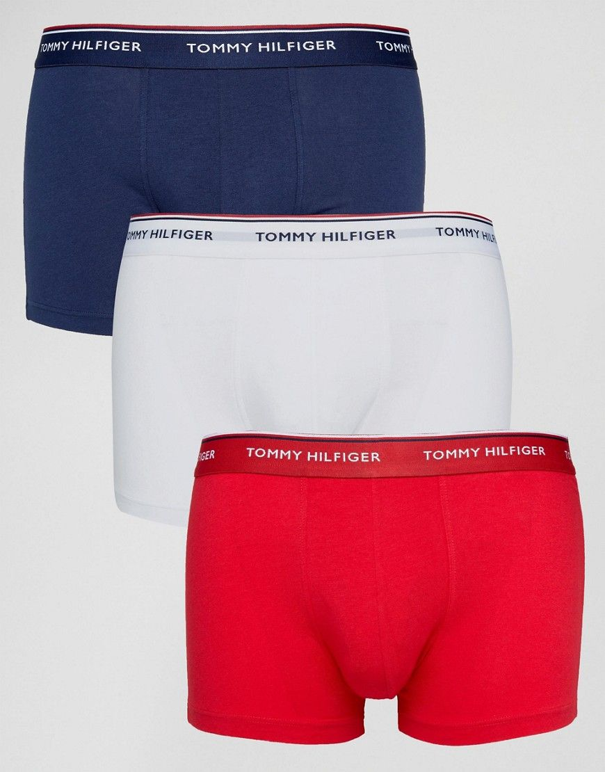 98fc15c5a6 Tommy Hilfiger Stretch 3 Pack Trunks in White/Red/Navy - Multi Best Boxer