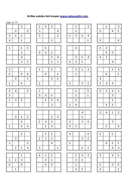 Grilles sudoku 4x4 niveau moyen 14 kids games - Construire une grille de mots croises ...