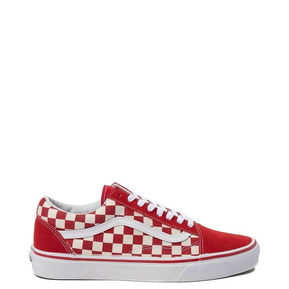 Vans Old Skool Checkerboard Skate Shoe Red White | Vans