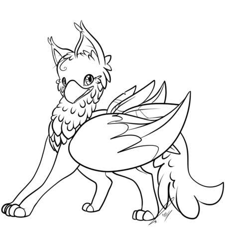 Cute Gryphon Coloring Page Free Printable Coloring Pages Coloring Pages Baby Animal Drawings Harry Potter Coloring Pages
