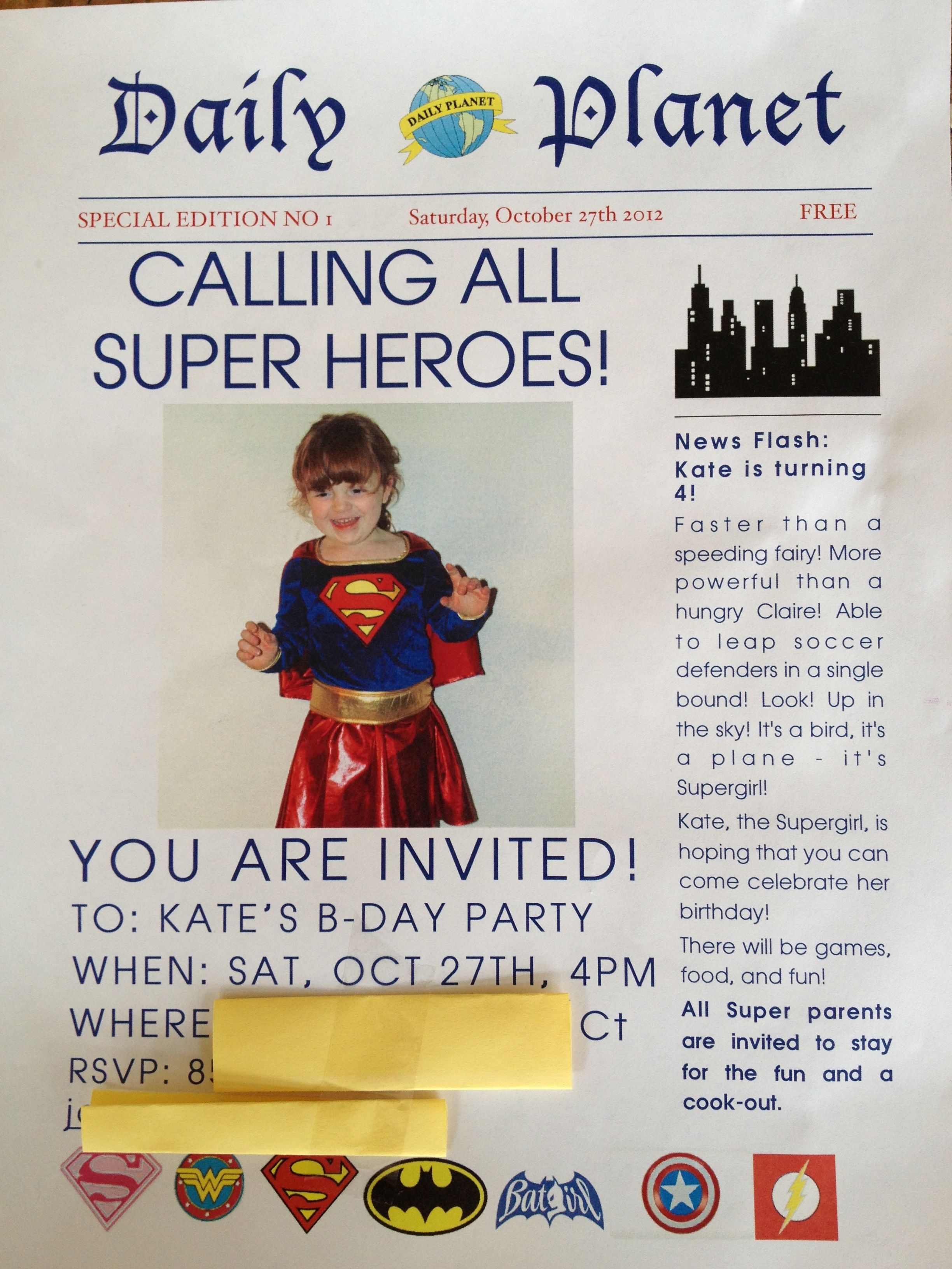 K\'s superhero birthday invitation- newspaper style. Supergirl ...