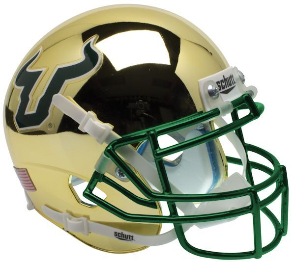 South Florida Bulls Schutt XP Mini Helmet- Chrome