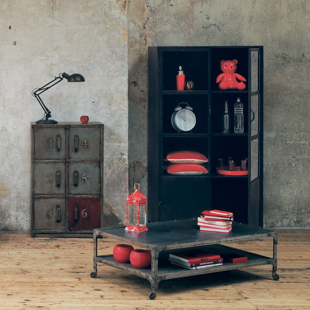 antiqued metal cabinet w 67cm drawers industrial and industrial style rh pinterest com
