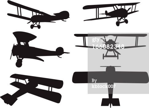 6 Vector Silhouettes Of A Ww1 Era Biplane
