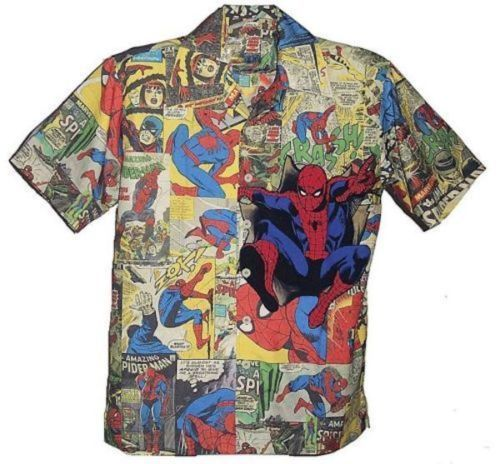 Mens Marvel Comics Spiderman Cartoon Button Front Shirt Size Large