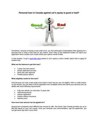 Personal Loan In Canada Against Car S Equity Fast Cash Payday Loans Quick Cash