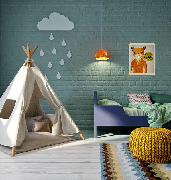 vintage inspired kids playroom with bright colored brick walls fun rh pinterest com Bord Room Lighting Ideas Game Room Lighting