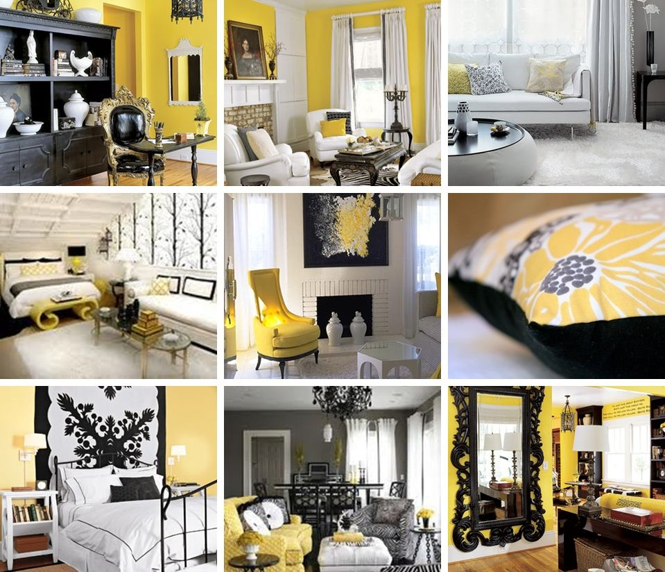 living room decorating ideas red and black%0A black yellow white decor  loving this for the lounge room