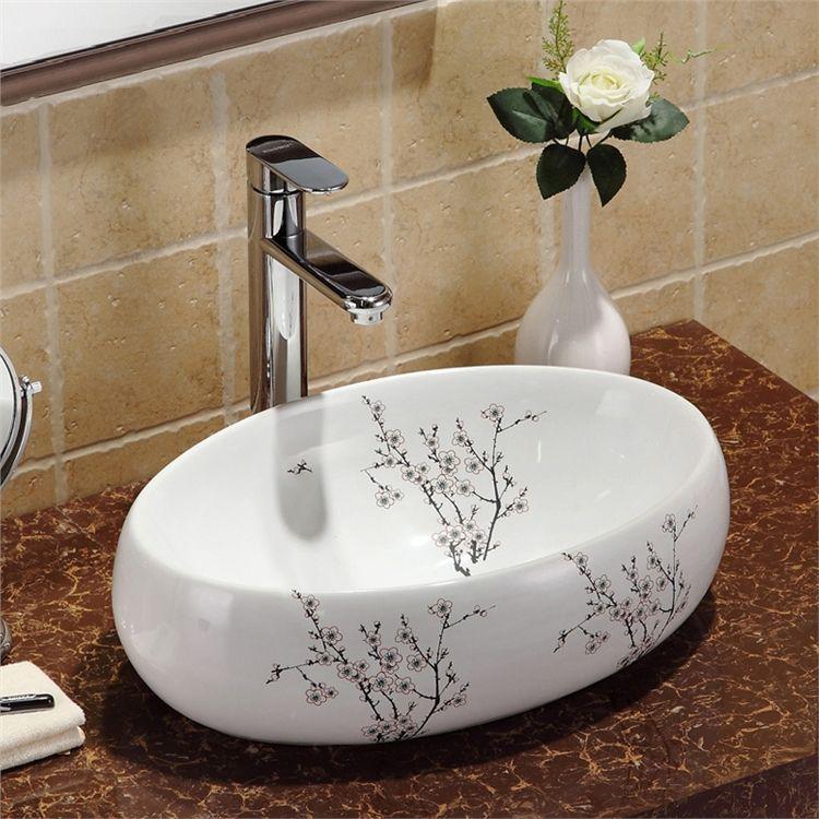洗面ボウル 手洗い鉢 洗面ボール 手洗器 陶器 梅花柄 楕円型 置き型 排水栓 排水トラップ付 48cm 洗面ボウル 洗面ボール 洗面
