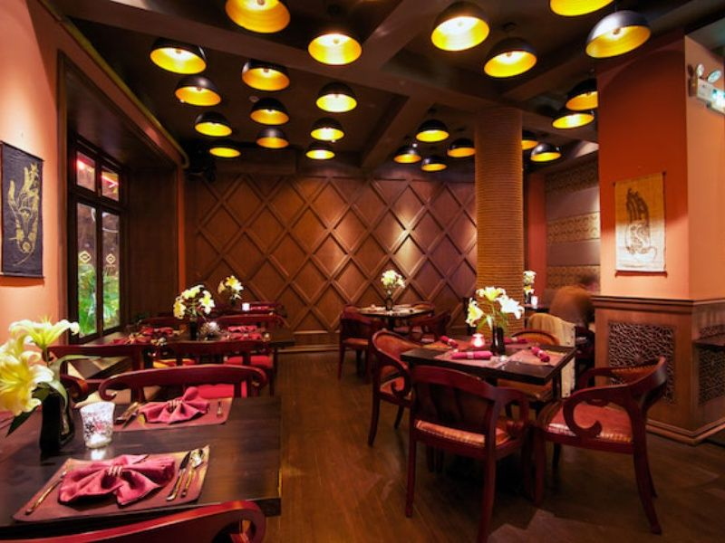 Saffron red interior design shanghai china indian