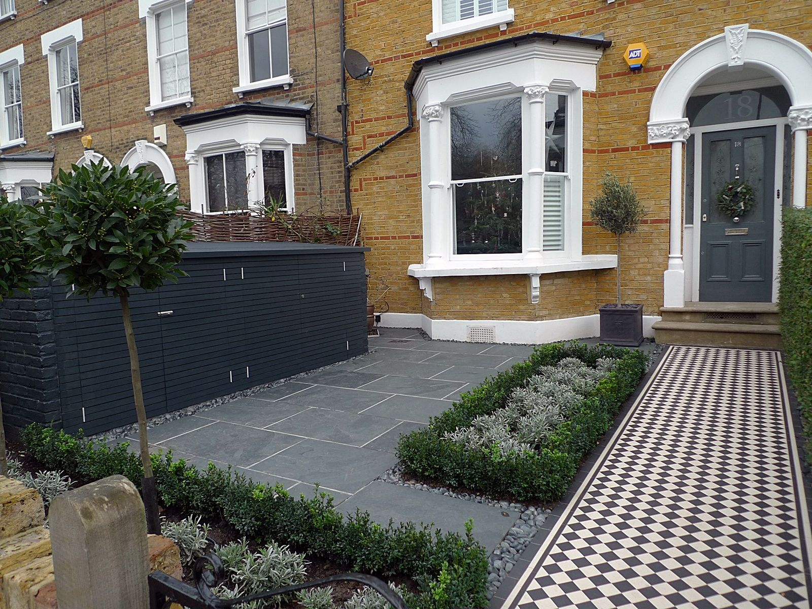 formal london front garden victorian mosaic tile path slate paving