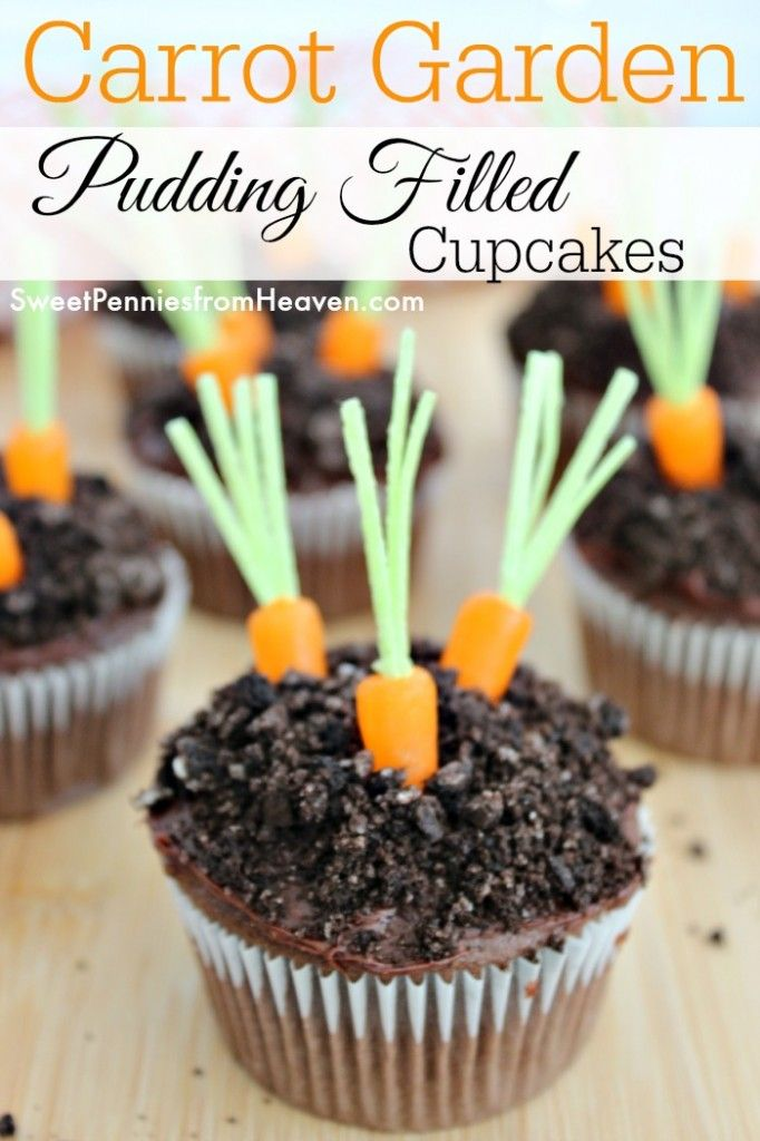 Simple Garden Carrot Cupcakes Pudding Filled Recipe Easter Recipes Chocolate Cupcakes