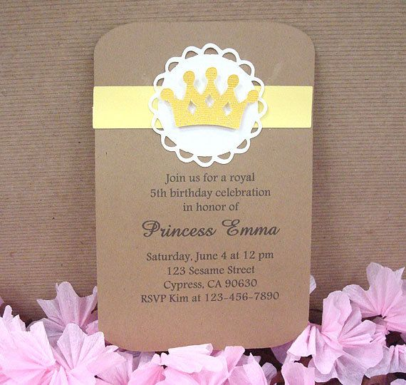 Handmade Yellow Royal Birthday Crown Invitation Birthdays and