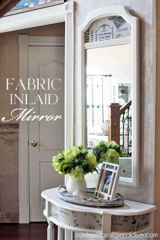 fabric inlaid mirror decorating ideas mirror diy furniture rh pinterest com