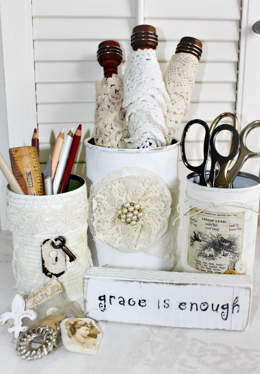 timewashed diy chic studio office organizers shabby chic lace rh pinterest ca