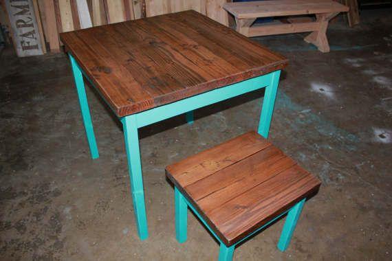 pub table custom colored farmhouse table turquoise blue table rh pinterest com