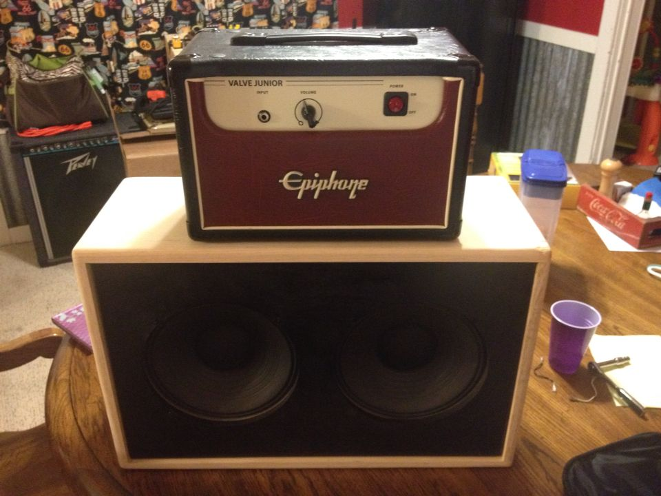 My Epiphone Valve JR with my Sub Z 2x10 closed back cab with ...