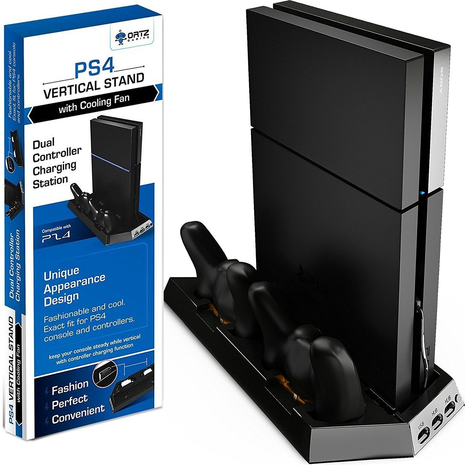 Ortz Ps4 Vertical Stand With Cooling Fan Playstation 4 Console