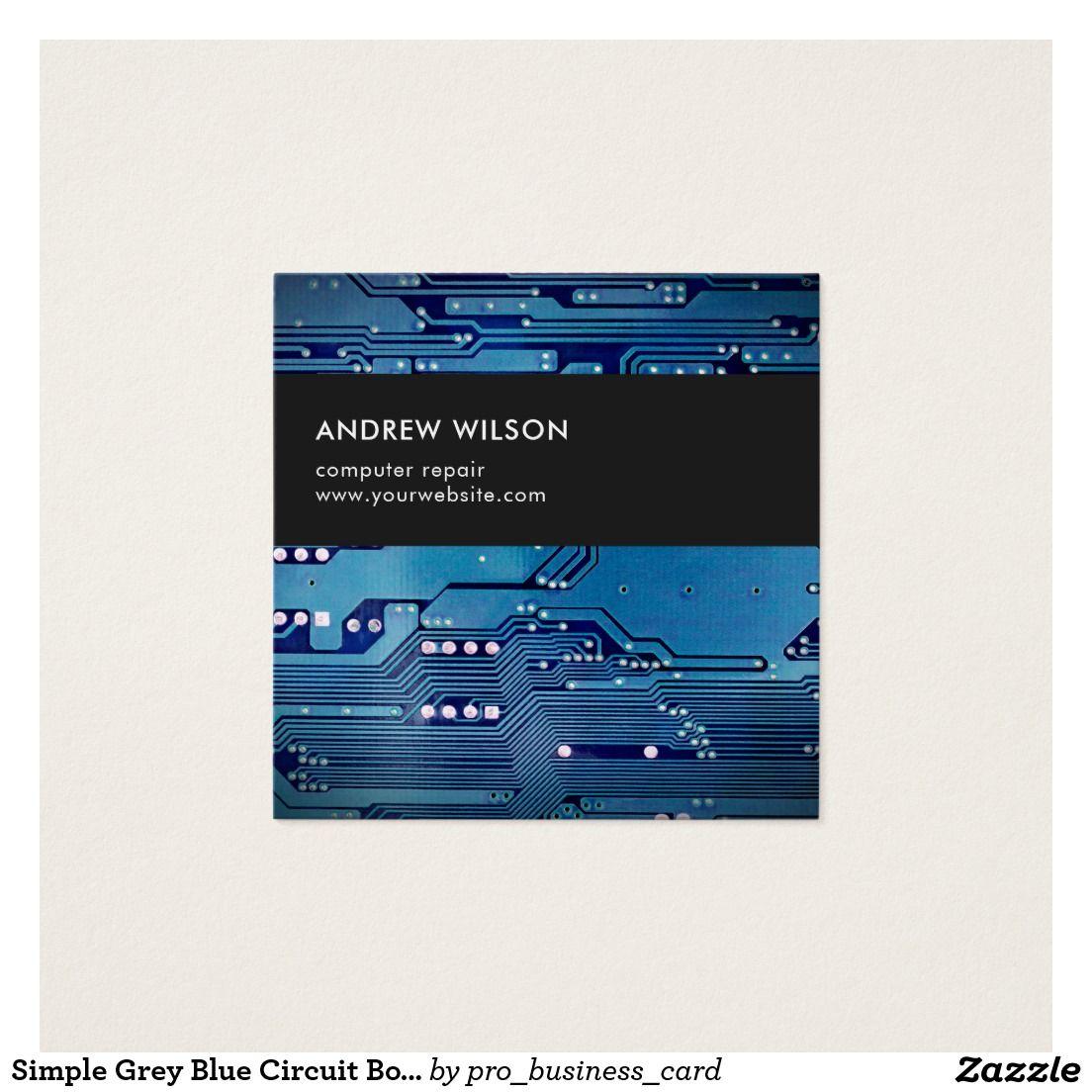 Simple Grey Blue Circuit Board Computer Repair | Business Cards ...