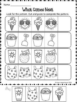 PATTERNS: Summer Patterns Worksheets | Pattern worksheet, Math ...