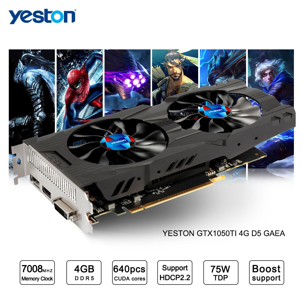 Yeston GeForce GTX 1050Ti GPU 4GB GDDR5 128 bit Gaming Desktop