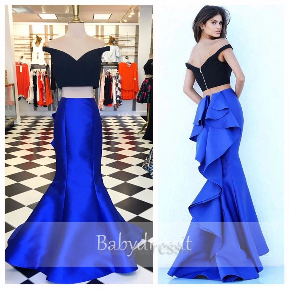Off the shoulder two piece prom dresses for girl high quality