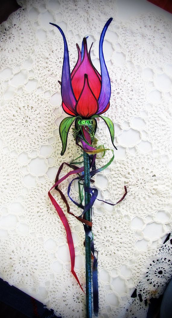 Fuscha Lily Silk Lighted Faerie Wand Accessory Faeries Silk