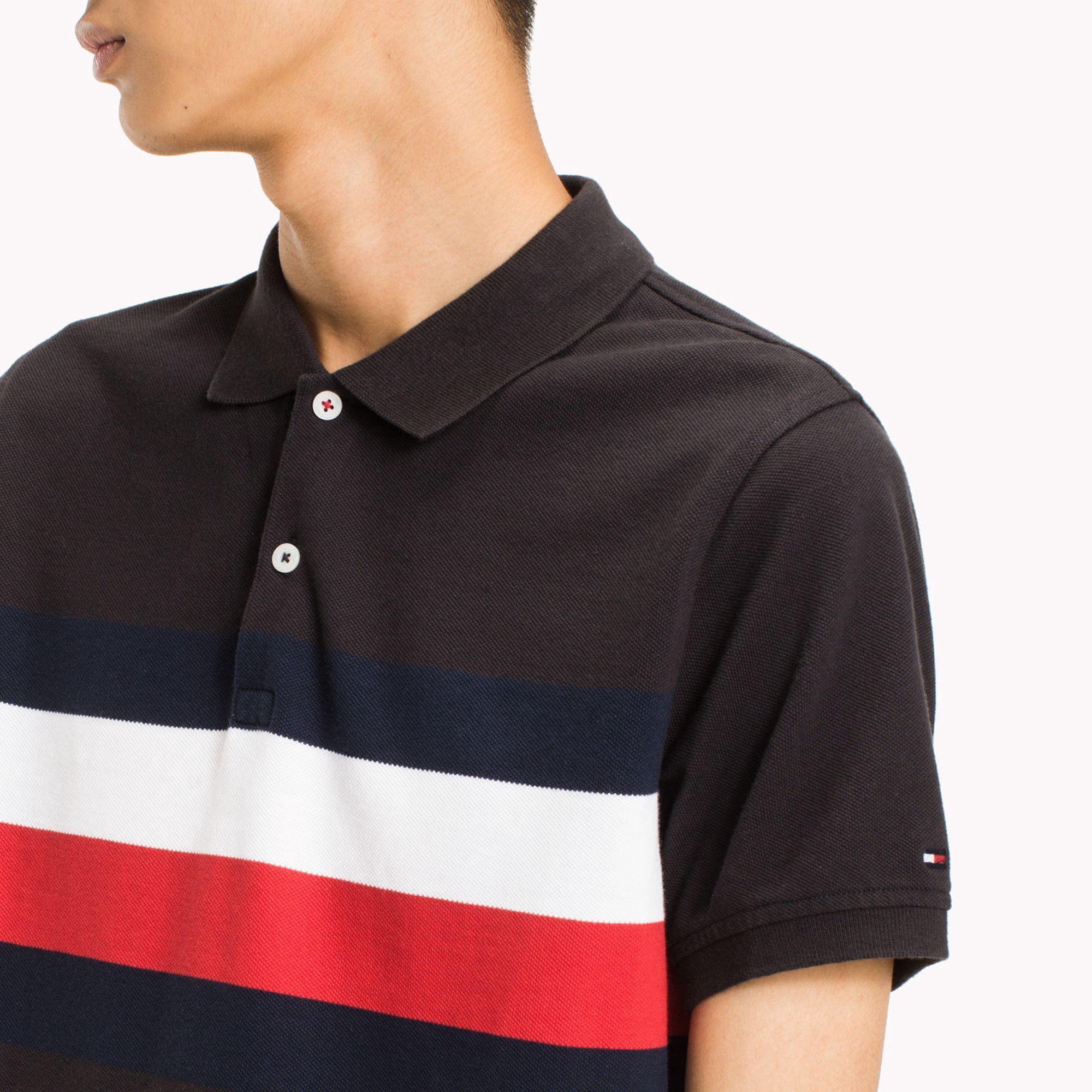 9586d621 Tommy Hilfiger Chest Stripe Slim Fit Polo - Cloud Heather / Multi Xxl