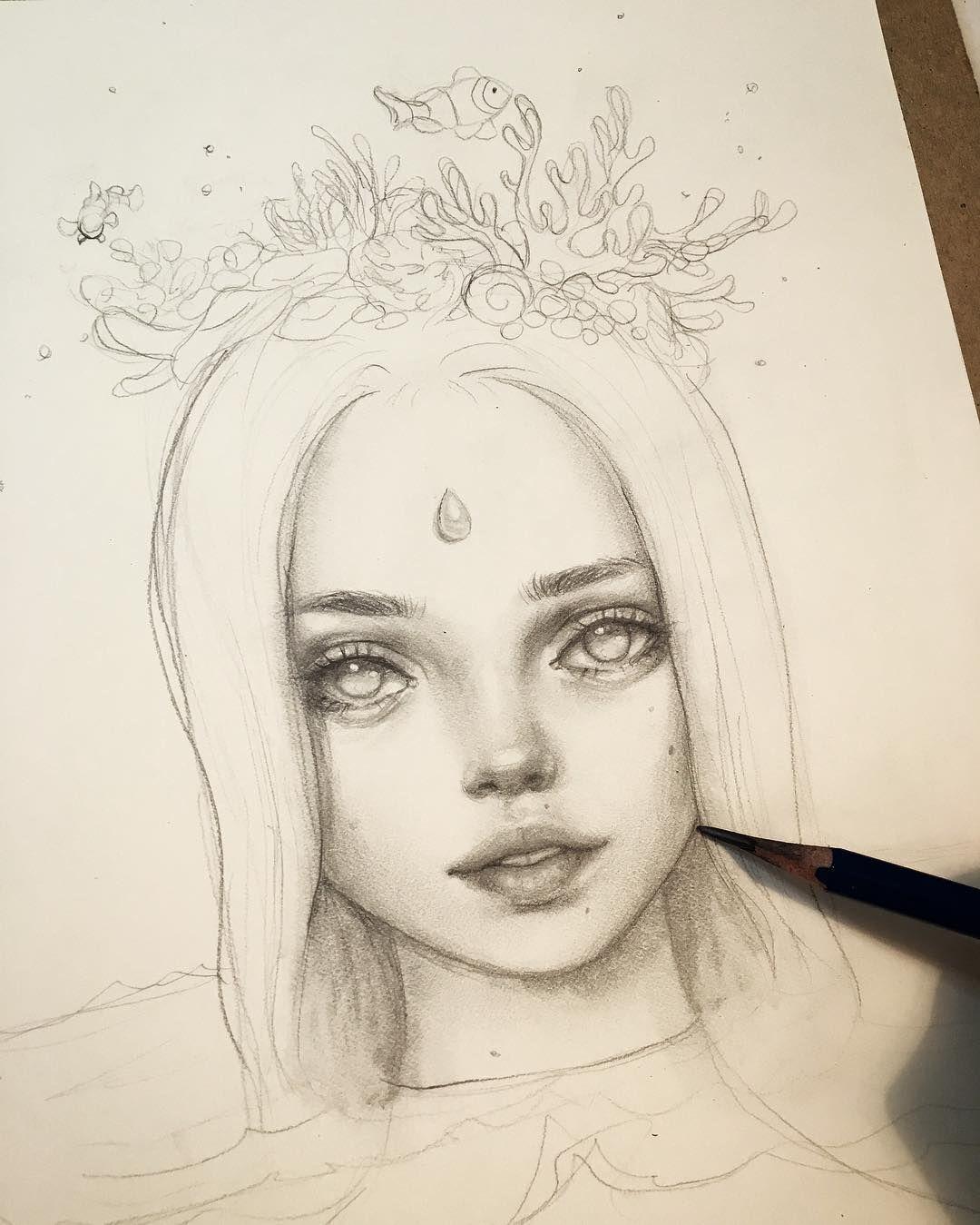 "5,811 vind-ik-leuks, 41 reacties - Happy D. (@happydartist) op Instagram: 'Working on ""Coral"" today. She will be an oil painting soon!  #illustration #wip #drawing…'"