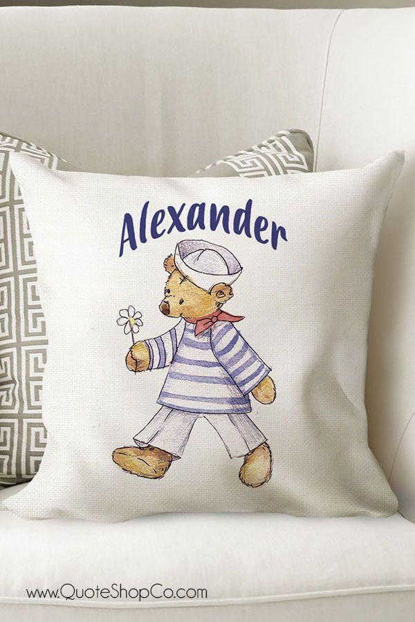 personalized sailor decorative cushion for baby boy room nursery rh pinterest com