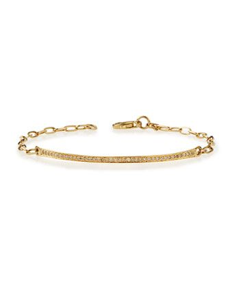 14k Gold Thin Diamond Bar Bracelet by Sydney Evan at Neiman Marcus