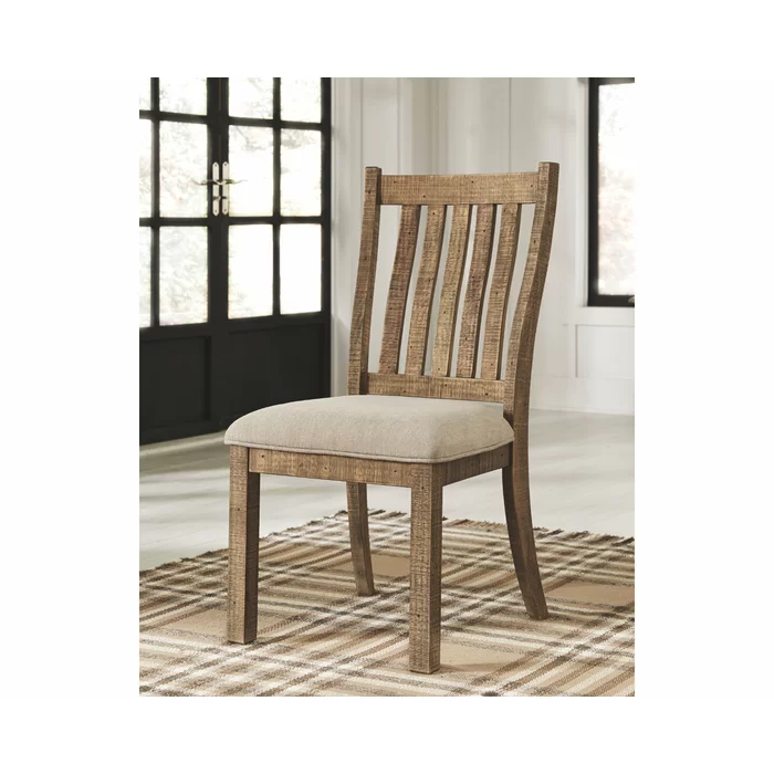 Jessamine Upholstered Slat Back Side Chair In Brown In 2020