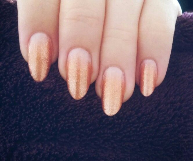 Ombre gold nails #long #natural #oval #nails #almond #ombre #fading ...