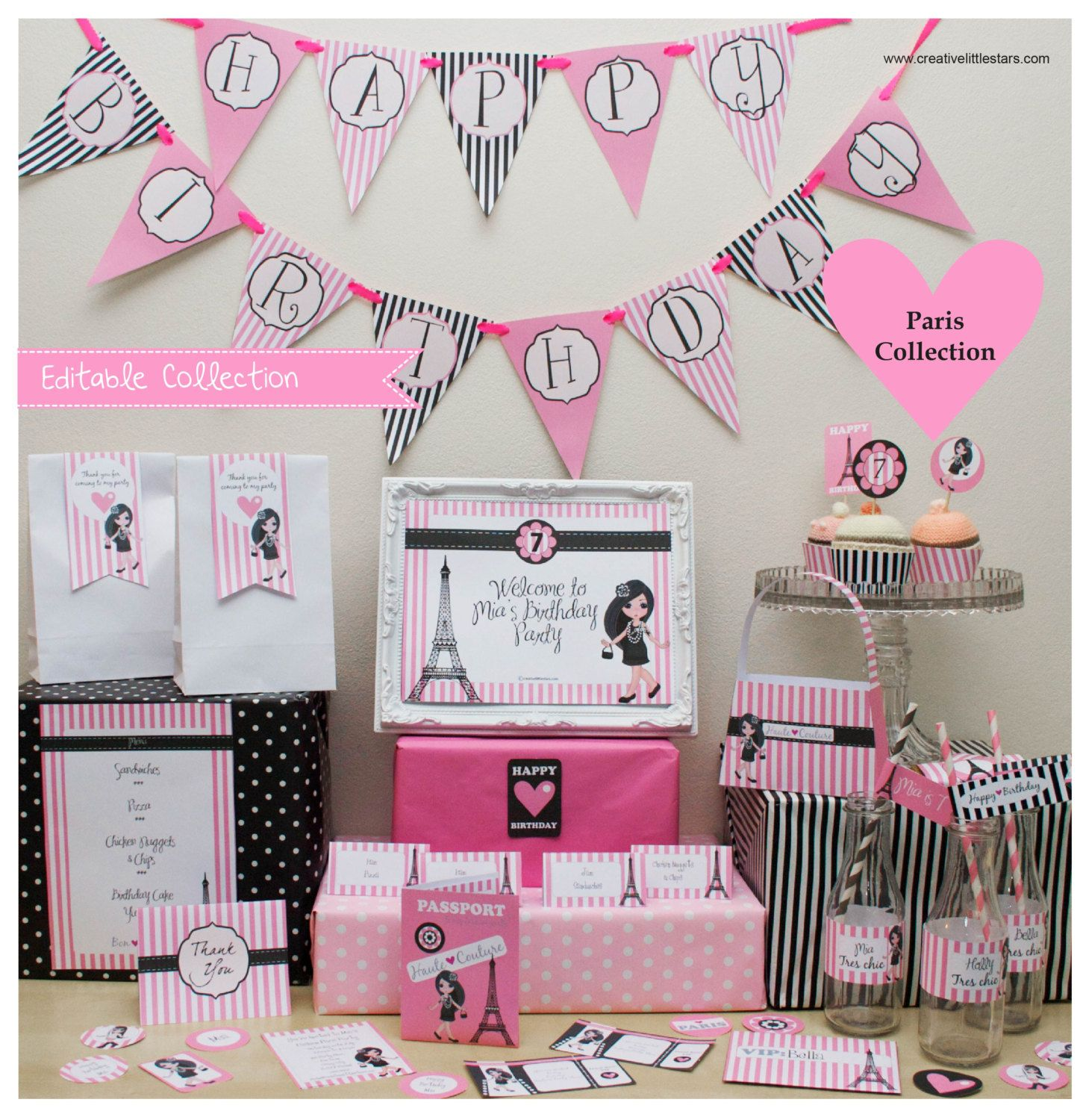 Paris Party DIY Printable Kit - INSTANT DOWNLOAD by CreativeLittleStars on Etsy