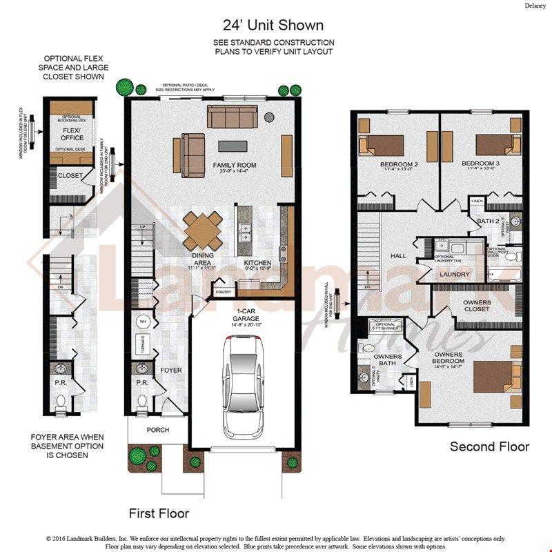 Delaney Court Apartments Rentals: Delaney Townhome 24' Floor Plan