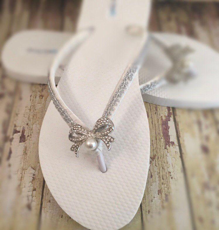 Ivory Bow Bridal Flip Flops, Dainty Jewel Rhinestone Bow