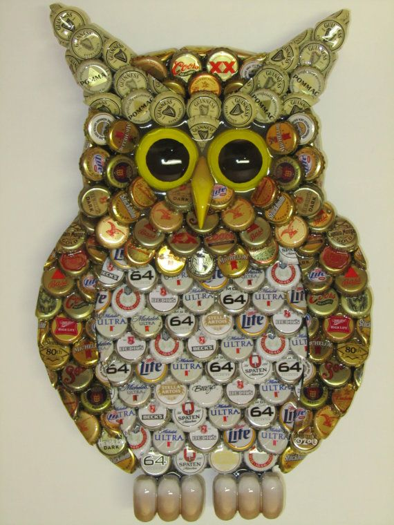 Metal Bottle Cap Owl Wall Art With Mixed Caps By EricsEasel, $150.00 Part 68