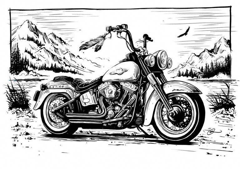 рисунки карандашом черно белые мотоцикла ассортимент