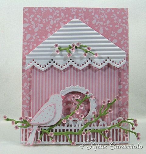Birdhouse. Paper art? Homemade card? I don't know, but cute. #pink #shabby #rose