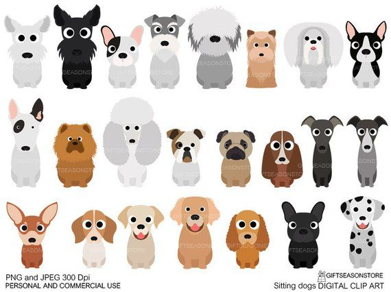 sitting dogs digital clip art for personal and commercial use rh pinterest com