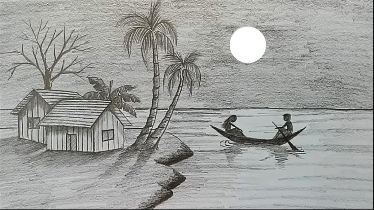 How To Draw Moonlit Night With Pencil Step By Step Art Drawings Sketches Simple Landscape Pencil Drawings Pencil Drawings Of Nature