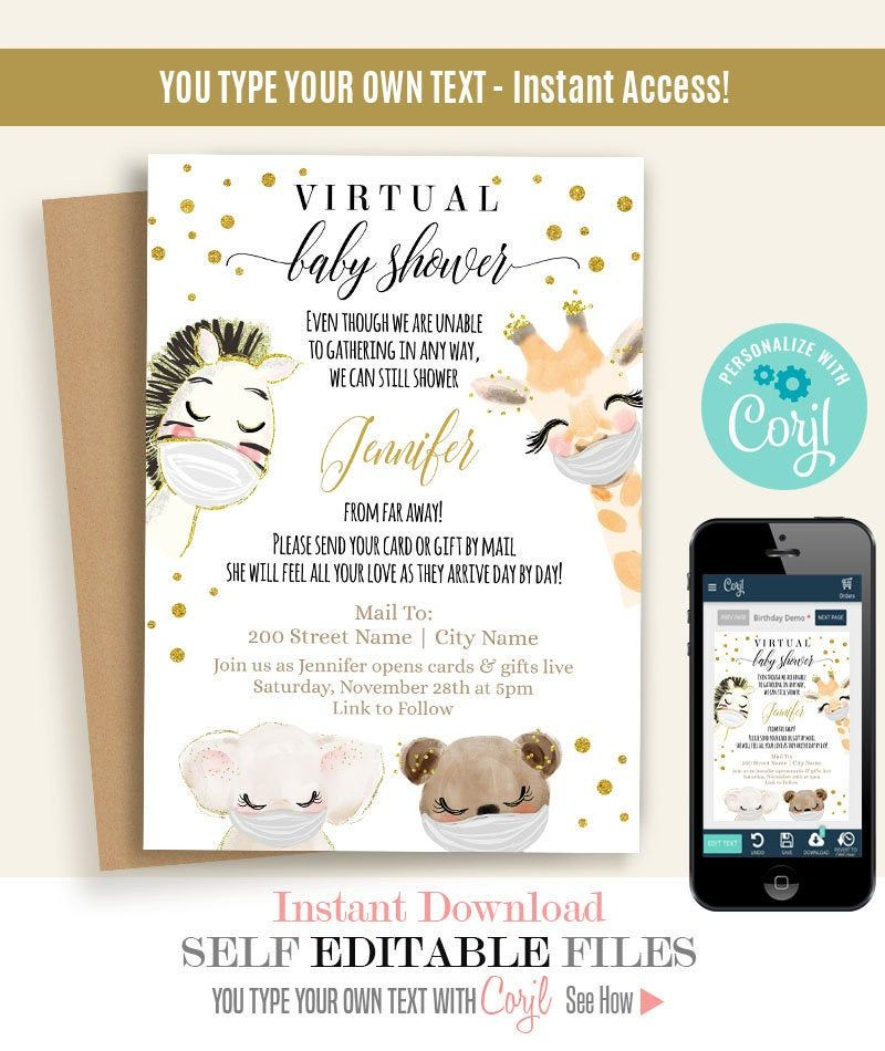 Virtual Baby Shower Invitation Print Or Email Editable Etsy Virtual Baby Shower Baby Shower Invitations Virtual Baby Shower Invitation