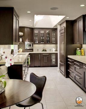 Grey Countertops With Dark Brown Cabinets And Grey Flooring Grey Countertops Transitional Kitchen Design Kitchen Design