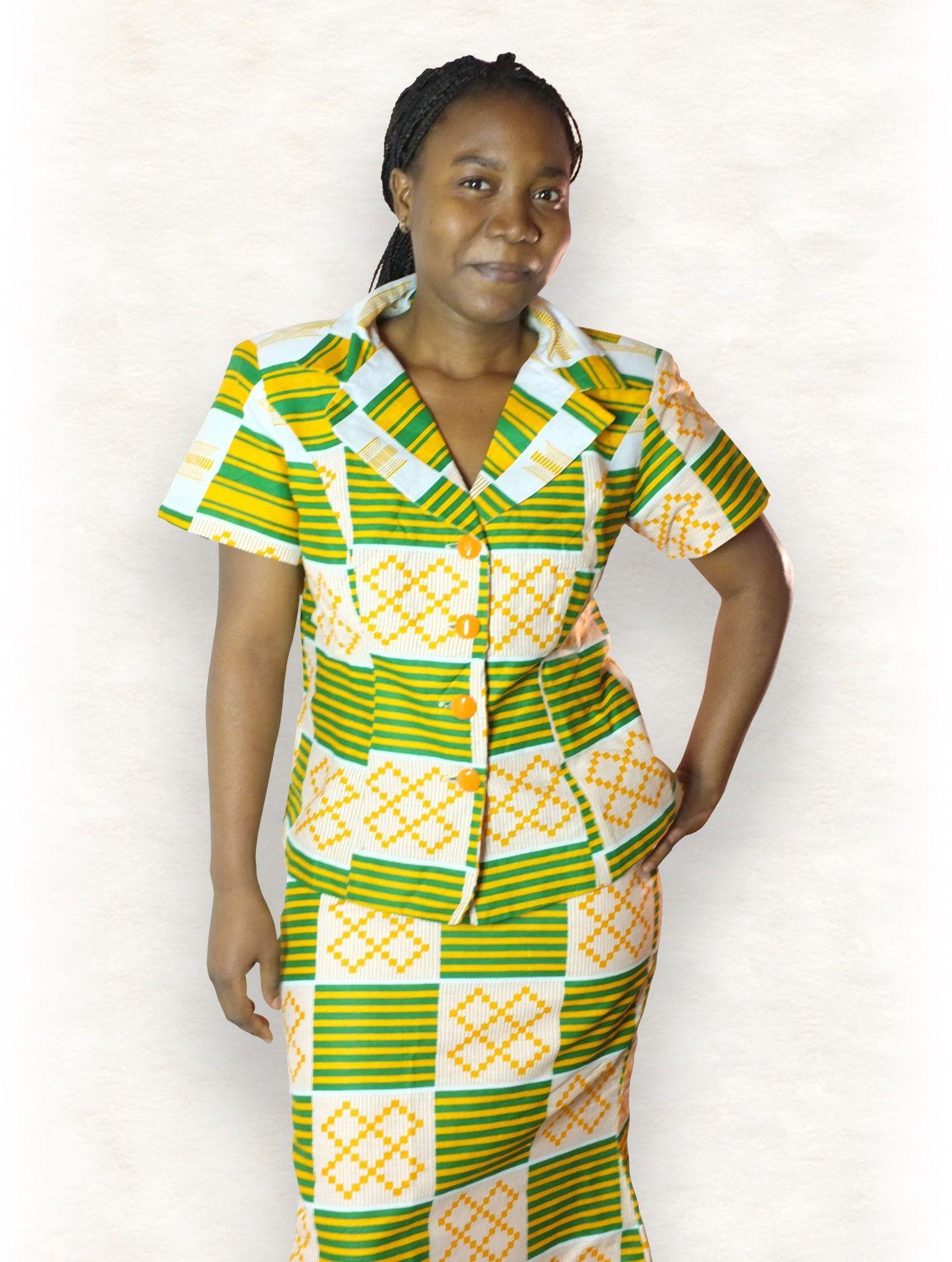 d673610899fc2a Ensemble Tailleur Veste et Jupe Pagne Ghana Prints Motifs Ashanti ...
