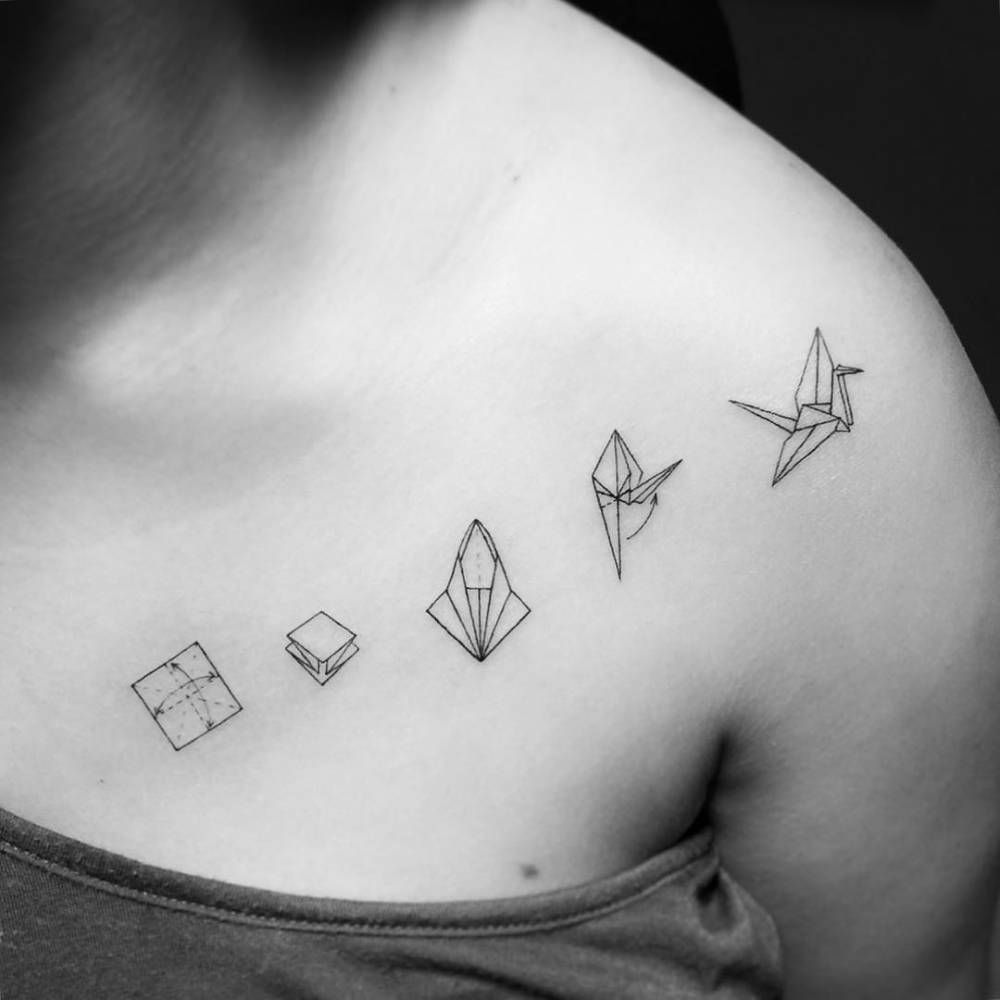 Origami Crane Instructions Tattoo On The Left Side Of Chest And Shoulder Artist Jay Shin