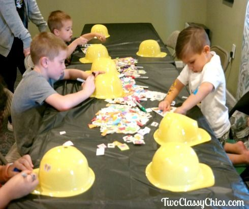 Kid's Birthday Party Construction Helmet Craft Activity - Construction birthday parties, Party activities kids, Construction theme birthday party, Construction site birthday party, Construction theme party, Birthday party crafts - Kid's Birthday Party Construction Helmet Craft Activity  The Classy Chics