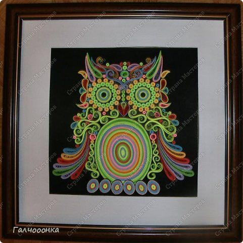 Pintura mural dibujando Sovushka Quilling de papel búho banda de cabeza grande foto 1