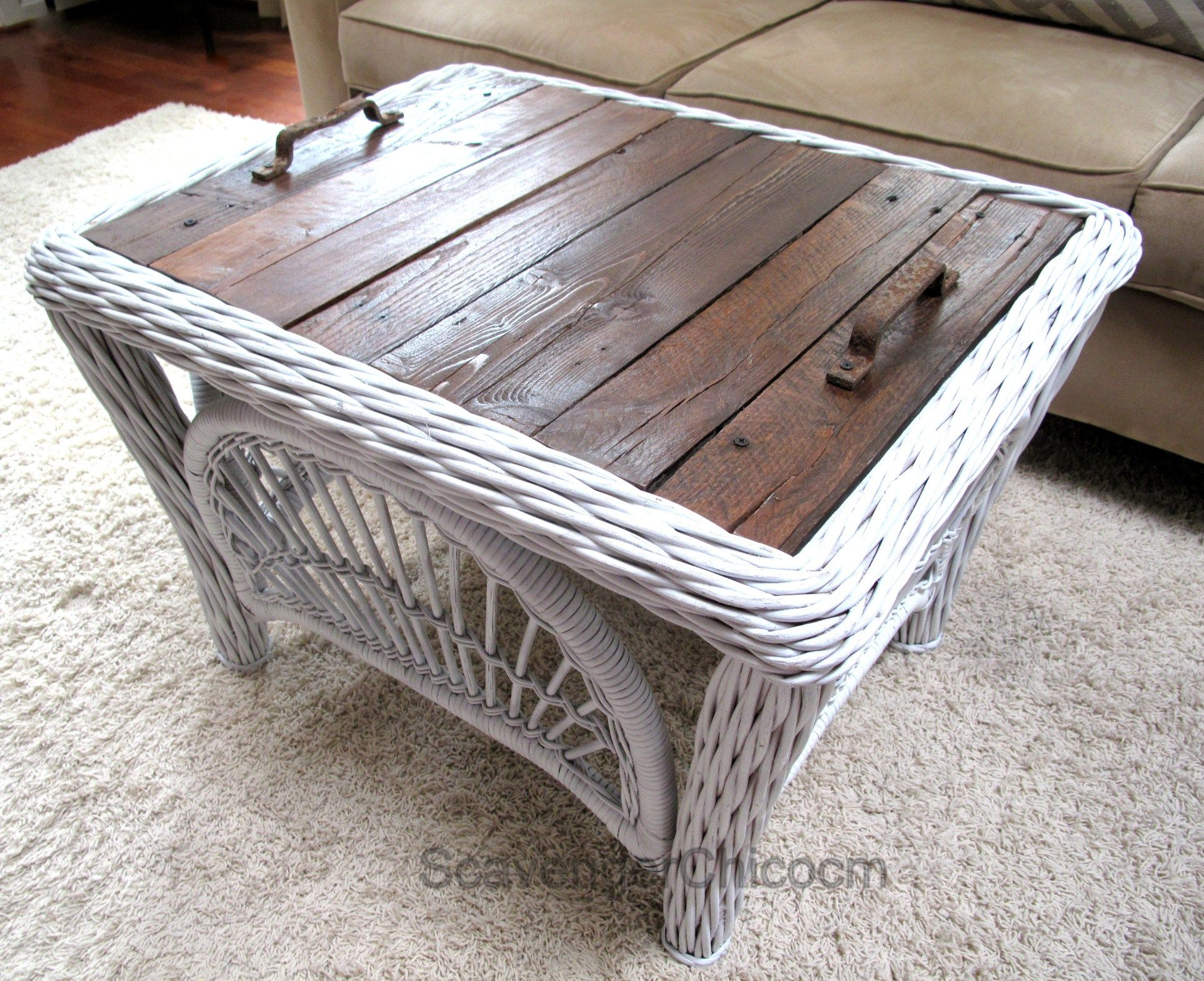wicker and pallet wood replacing a glass top on a wicker table rh pinterest co uk