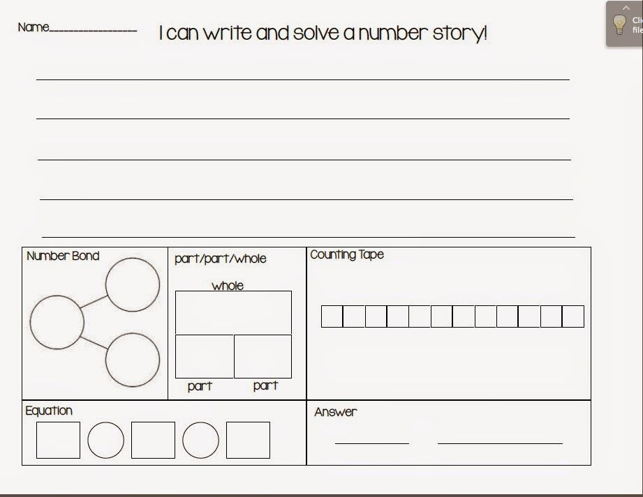 Freebies Write And Solve Number Stories Template  Math