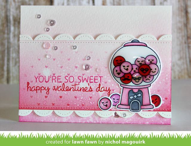Lawn Fawn Video 1 14 16 A Sweet Smiles Valentine with Nichol! (the Lawn Fawn blog) is part of lawn Fawn Ice Cream - Nichol is back with a pretty in pink Sweet Smiles Valentine card and video! You can watch the video here or on our YouTube channel! Thank you so much for watching! How fun is that pink gumball machi